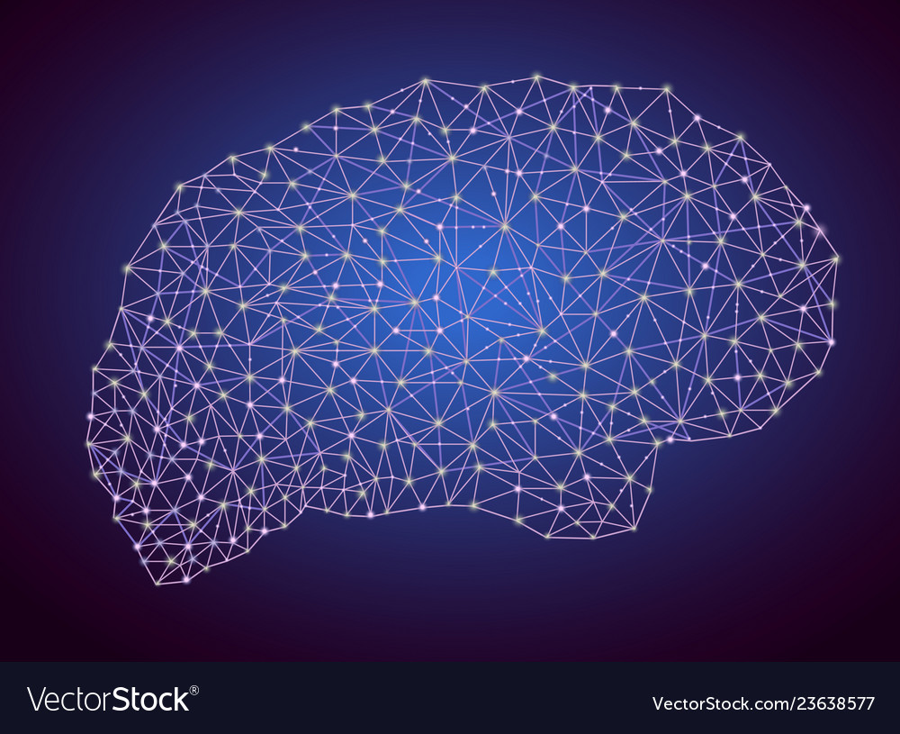 Brain shape business network polygons mesh
