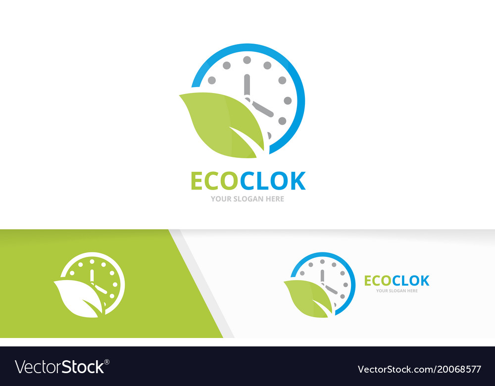 Clock and leaf logo combination time and vector image