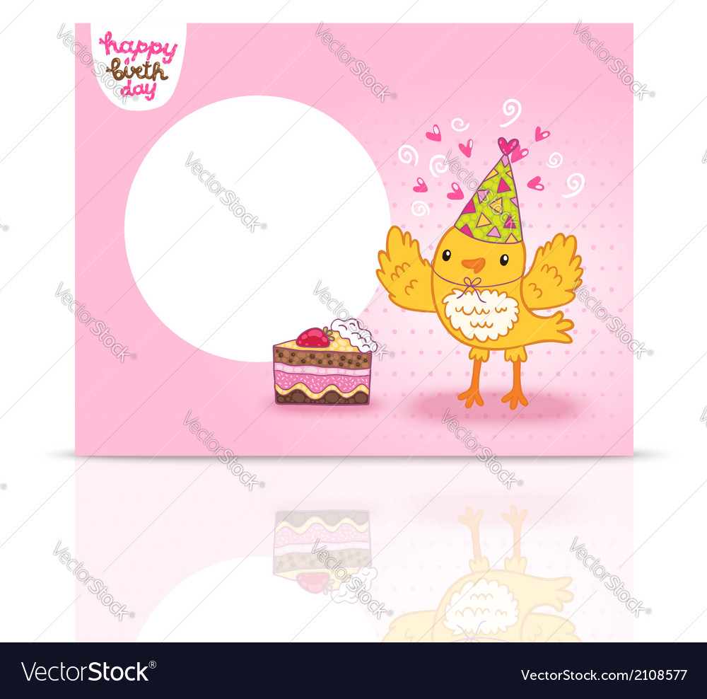cute happy birthday postcard template with a bird vector image