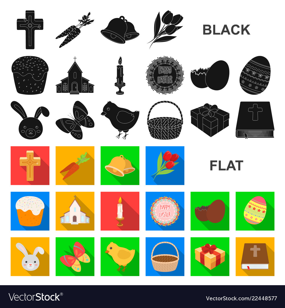Easter is a christian holiday flat icons in set