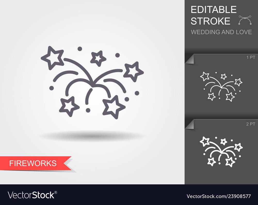 Fireworks line icon with shadow and editable