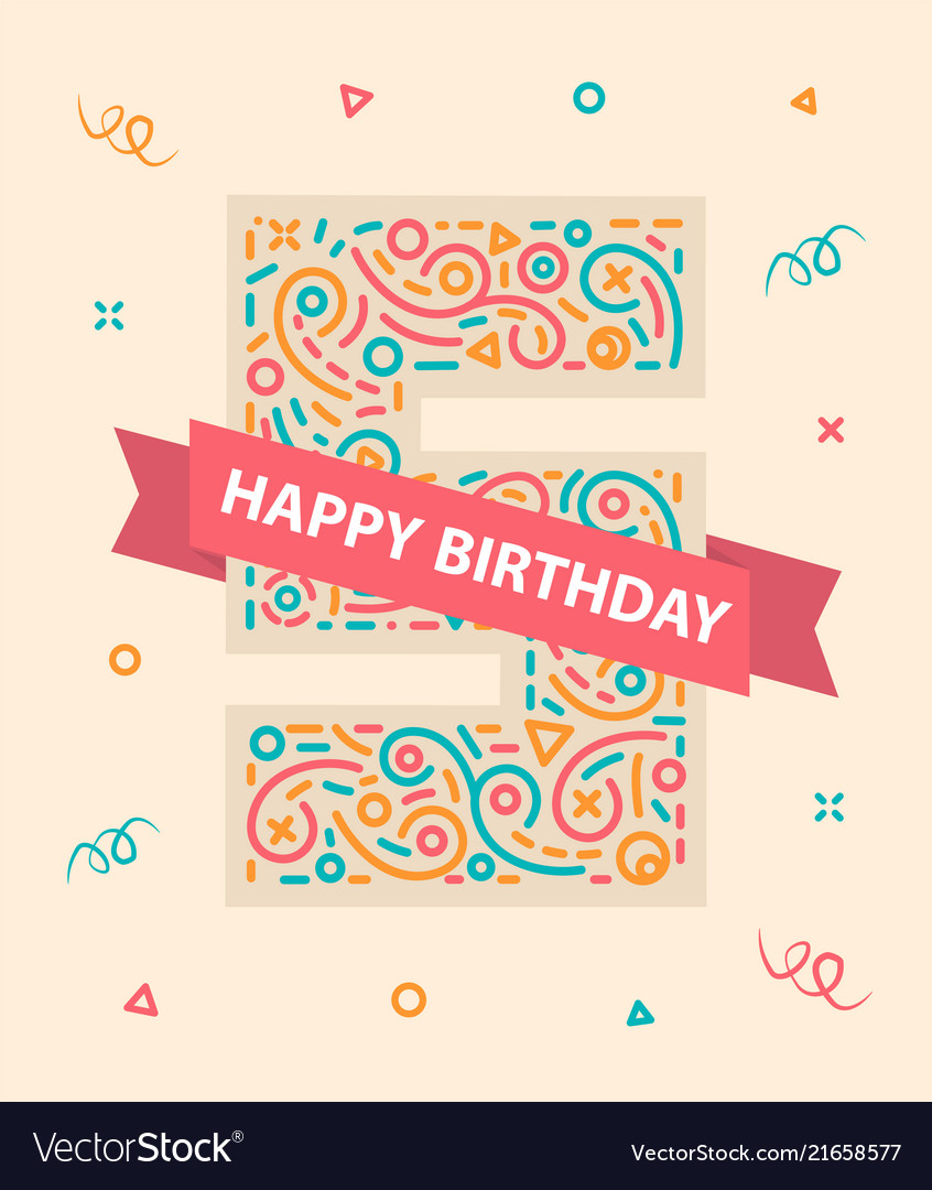 Happy birthday number 5 colorful greeting card for