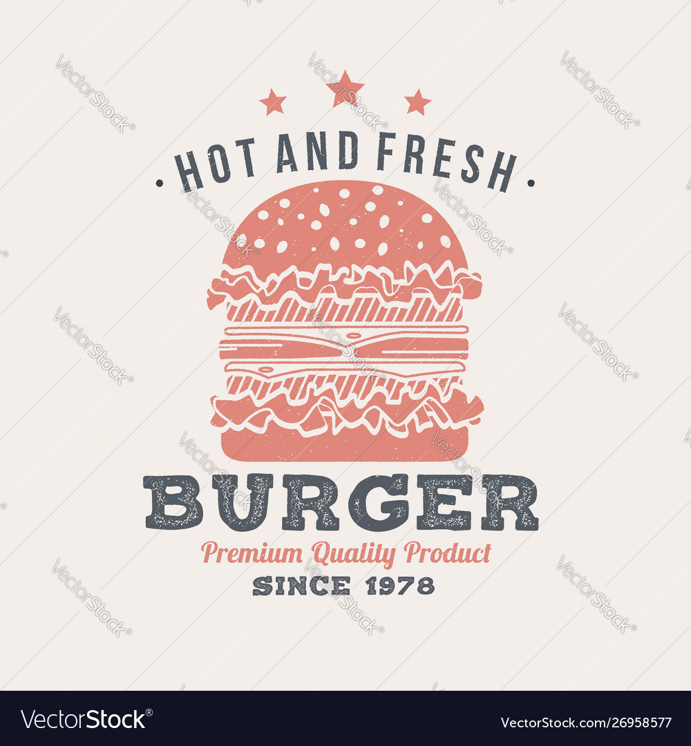 Hot and fresh burger retro badge design