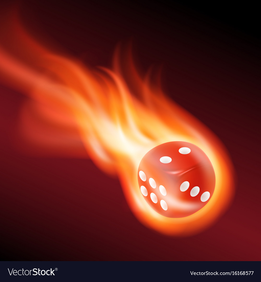 Red dice in fire vector image