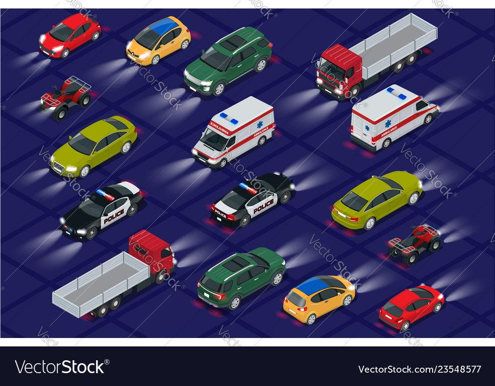 Set cars with car lights realistic isometric view
