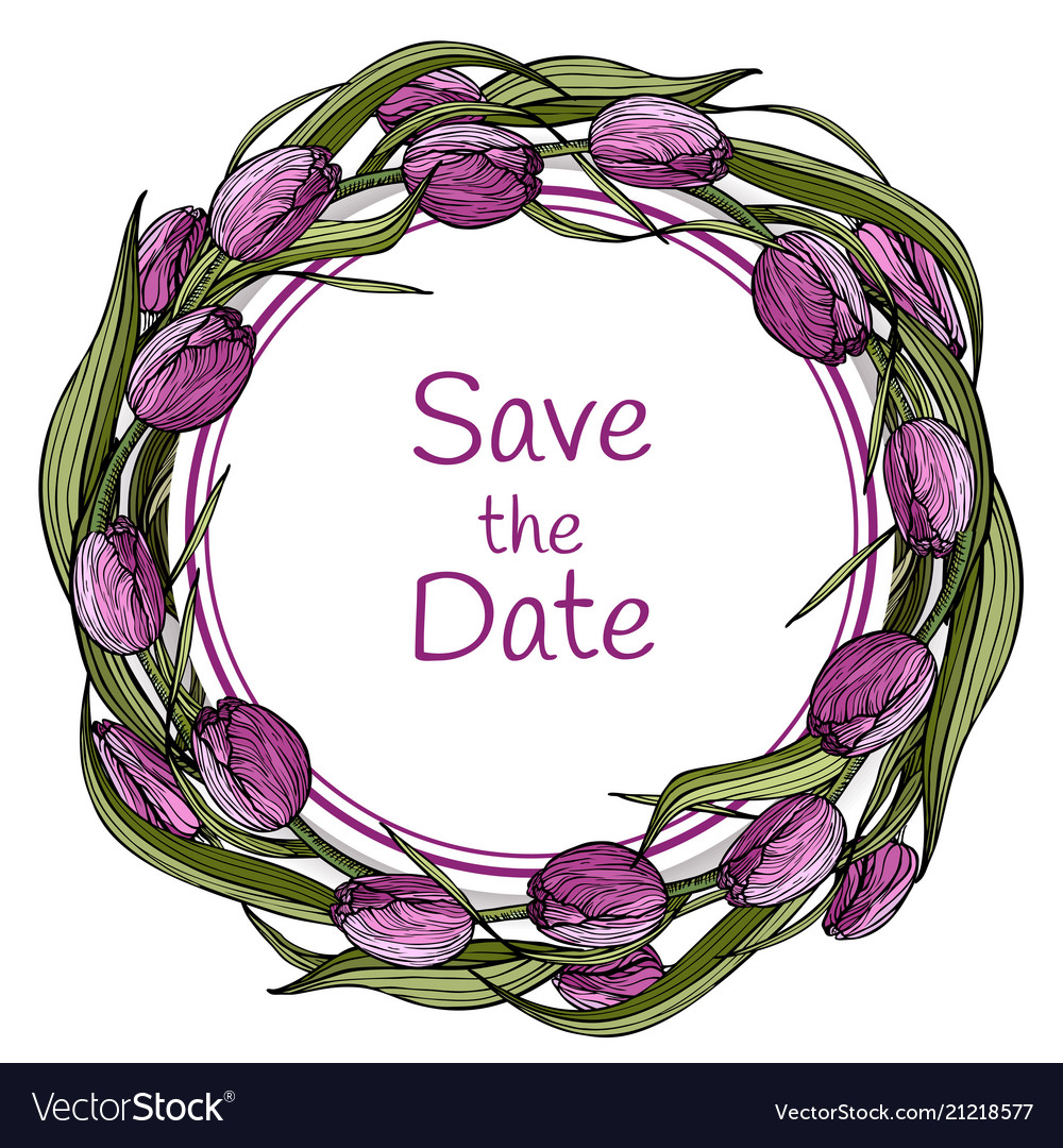 Template design with flowering lilac tulips