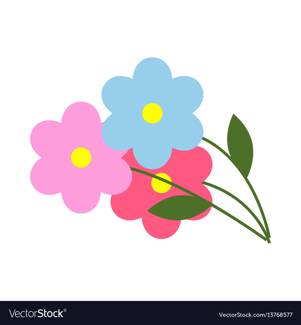 Three flowers with green leaves in cartoon style