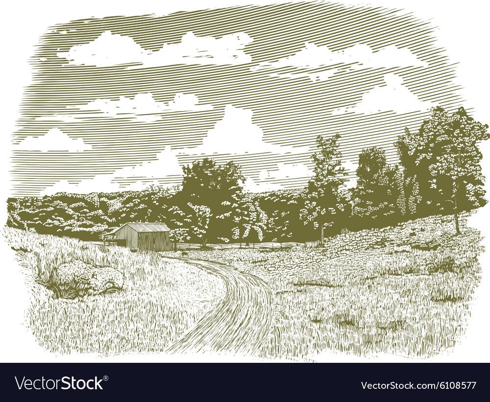 Woodcut Goodnight Farm vector image