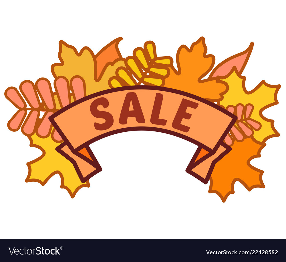 Autumn sale sign on ribbon with yellow and orange