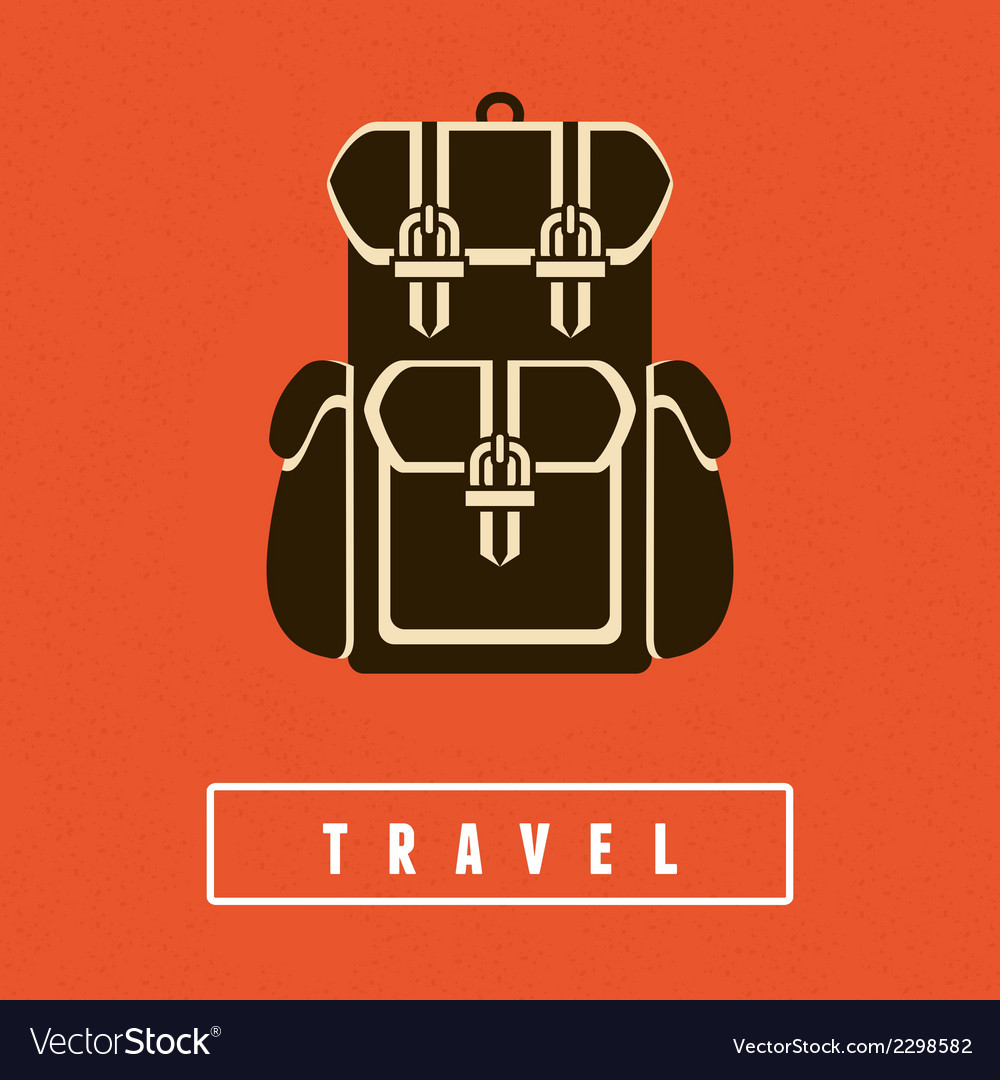 Backpack icon in flat style