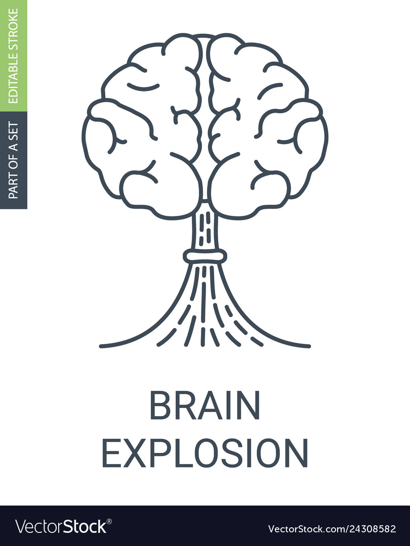 Brain with a shape of atomic explosion icon