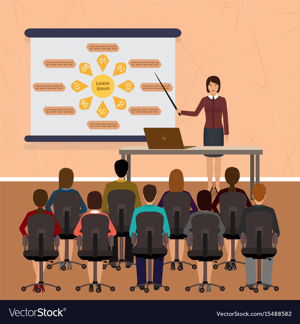 Business people seminar group office employee on