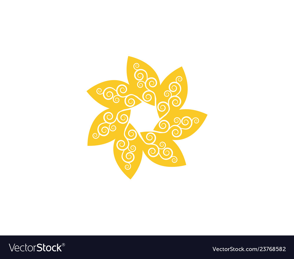 Circle flower icon logo template