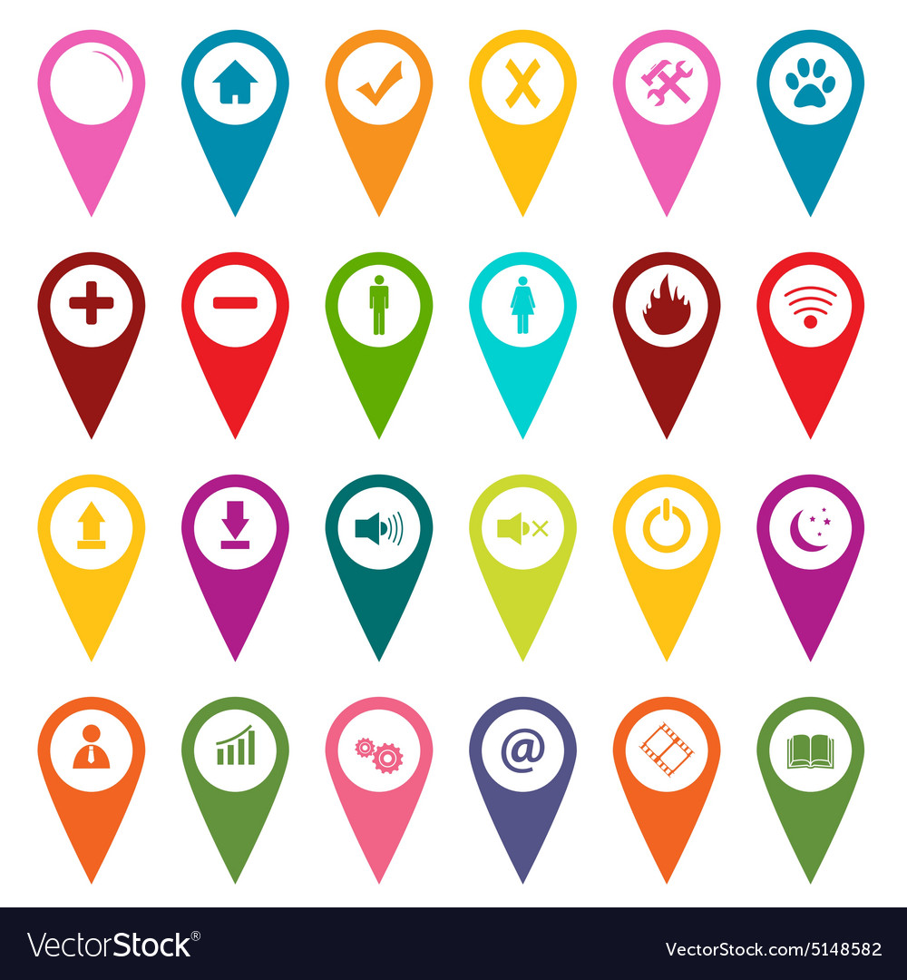 Map Marker Icon Set Colored map markers icon set Royalty Free Vector Image