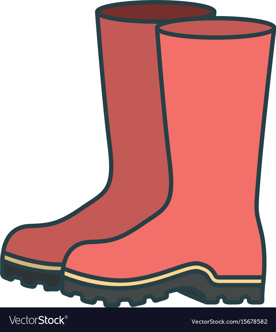 Colorful silhouette of fishing plastic boots Vector Image