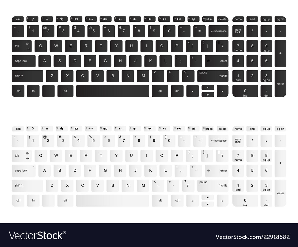 Computer Keyboard Isolated Royalty Free Vector Image