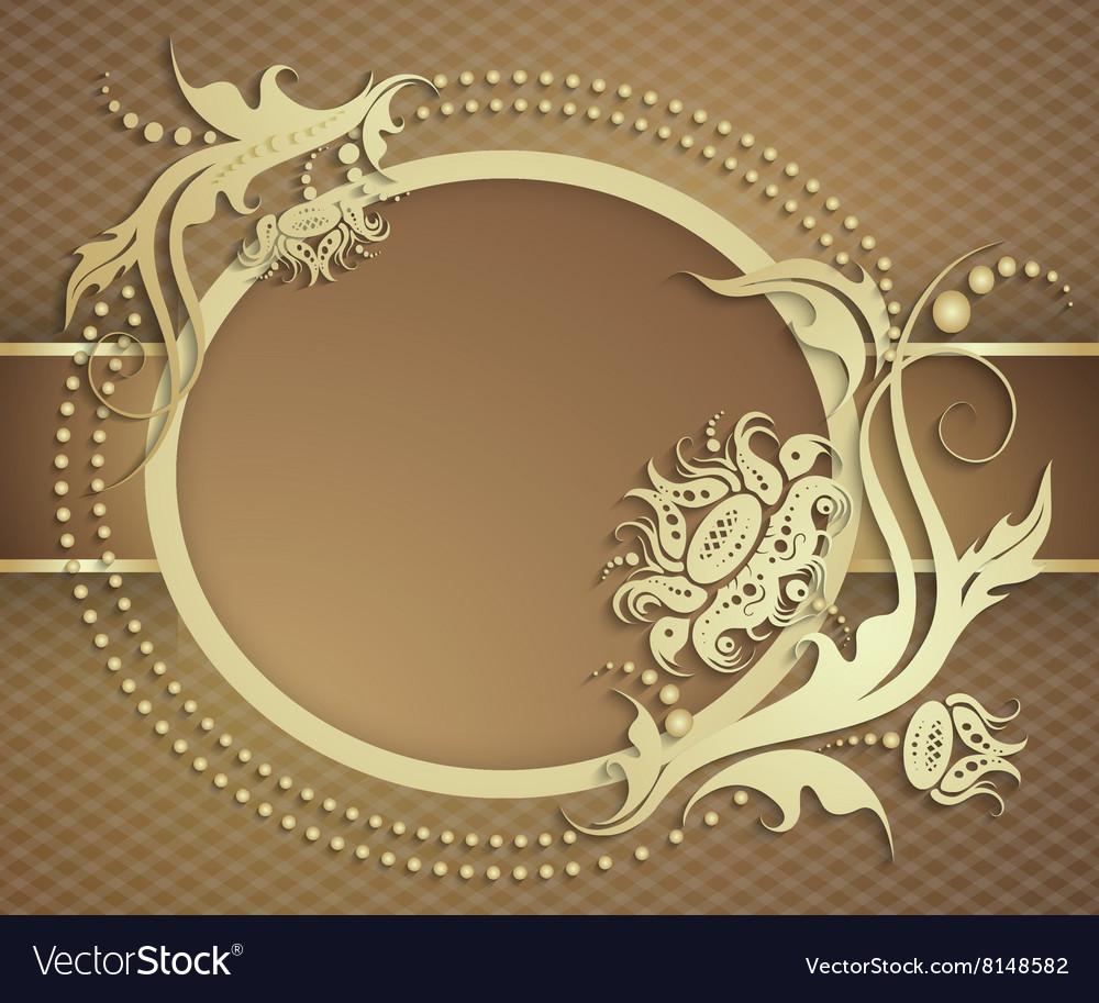 Elegant golden frame banner Luxury floral