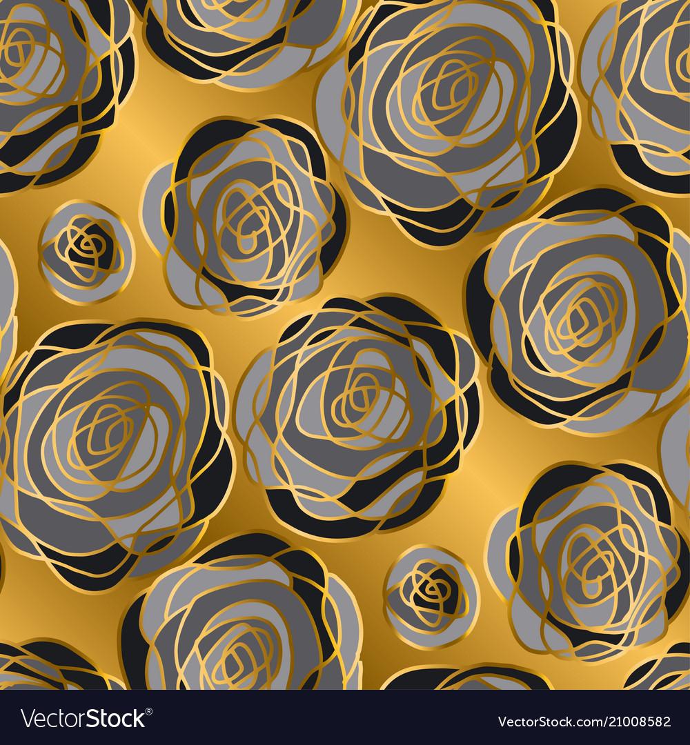 Gold rose decorative flowers seamless pattern