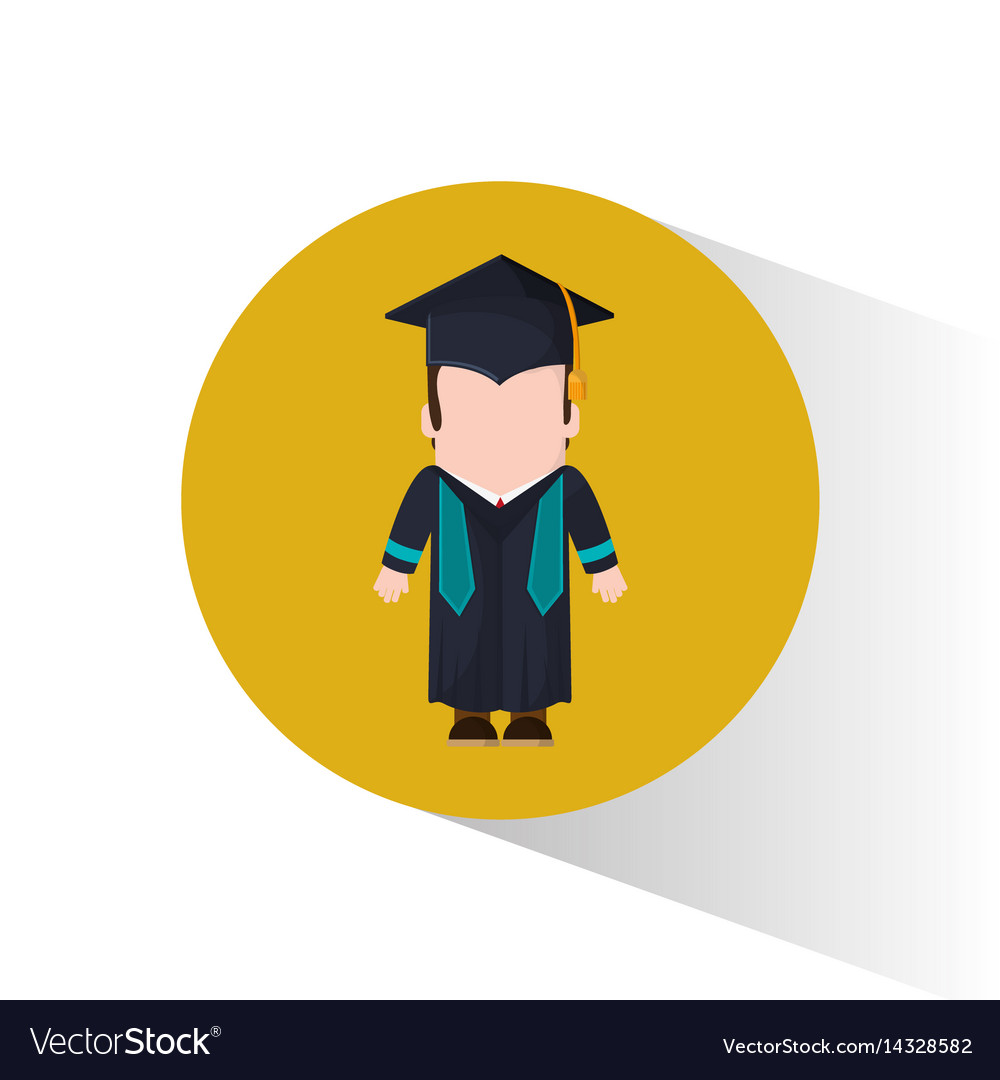 Graduate student cap and gown Royalty Free Vector Image