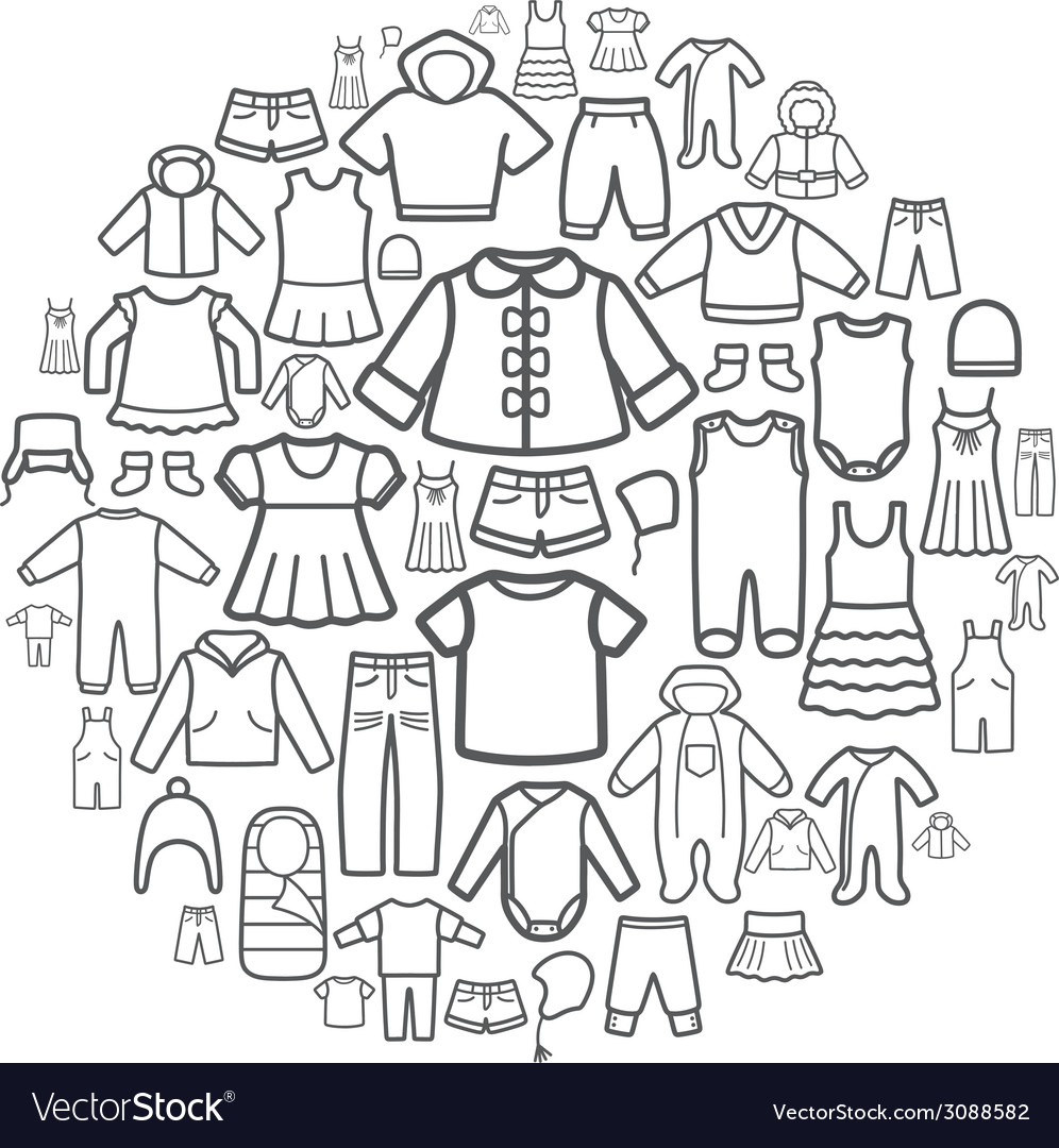 Line icons of children clothing