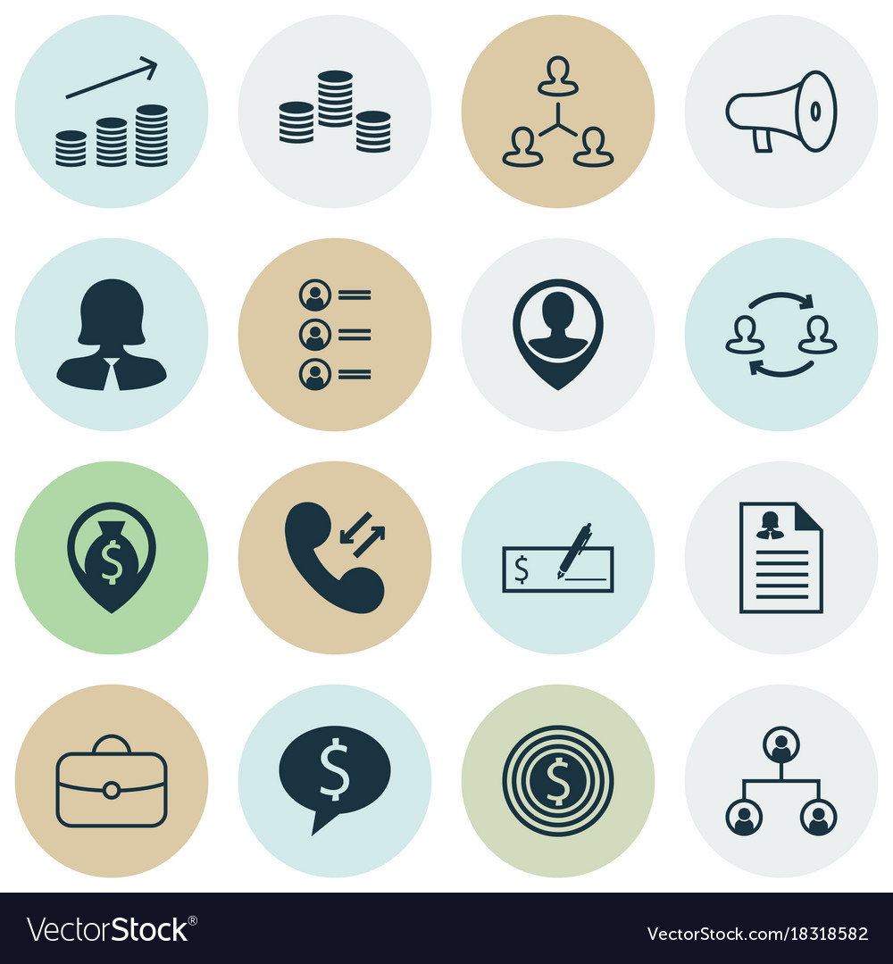 Management icons set collection of bullhorn call