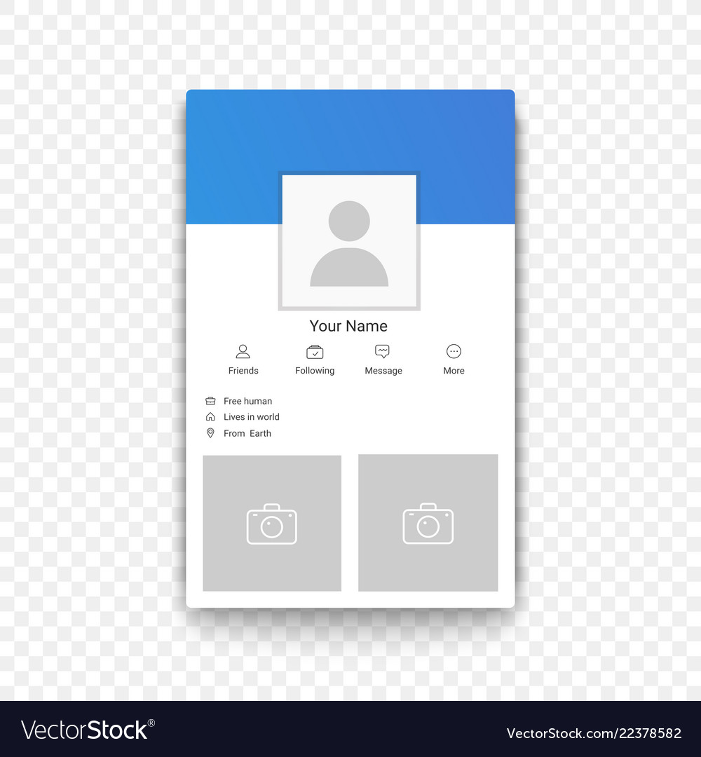 Social network mobile app profile template on the