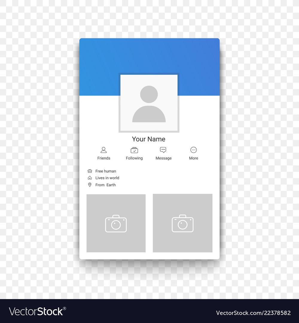 Social network mobile app profile template