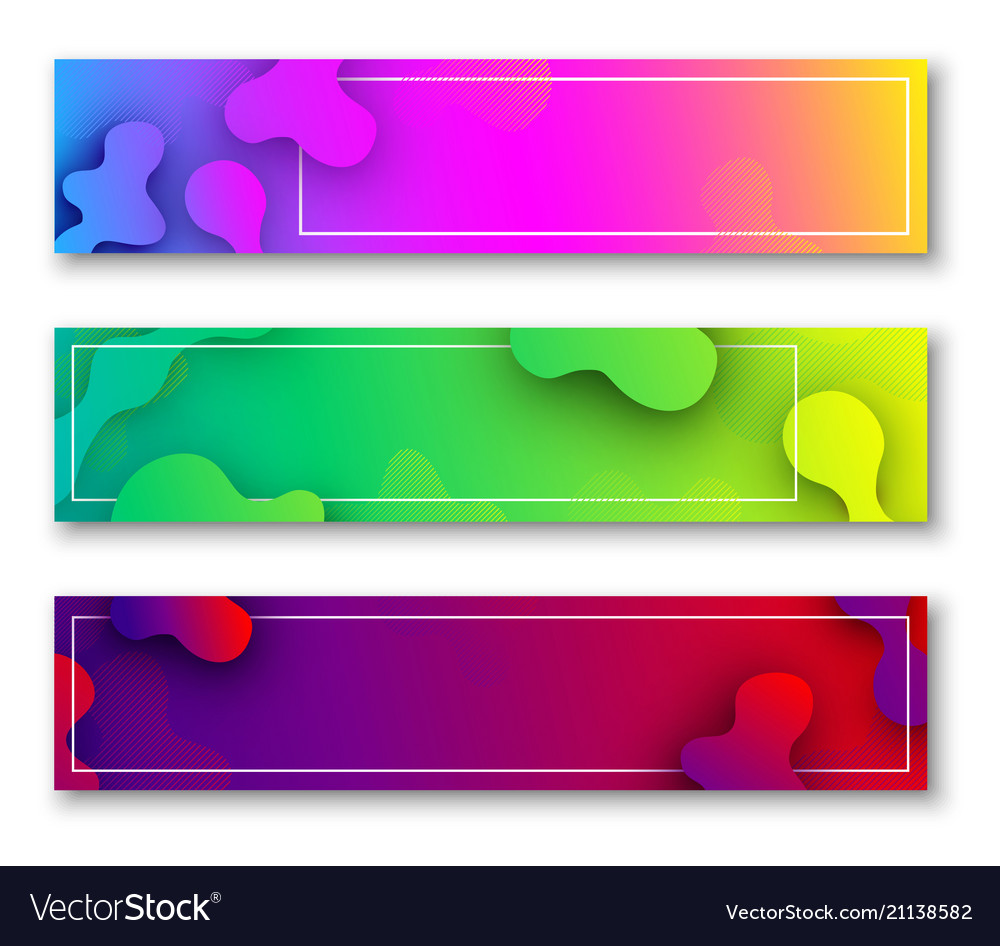 Three colorful banners with abstract pattern