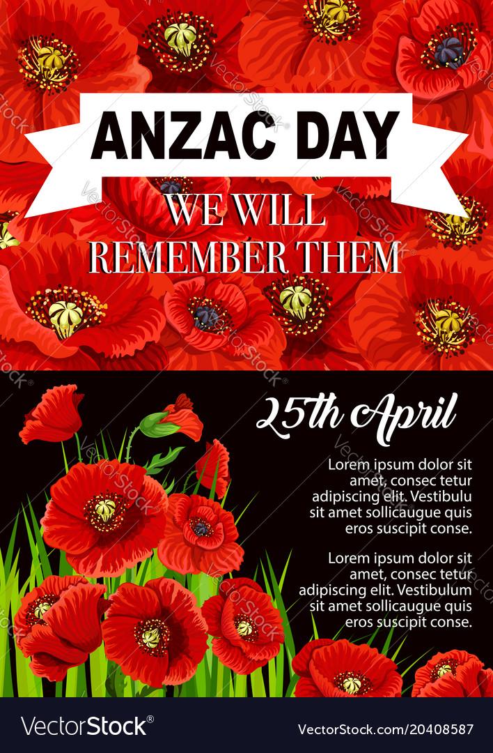 Anzac day poppy flower memorial poster design vector image mightylinksfo