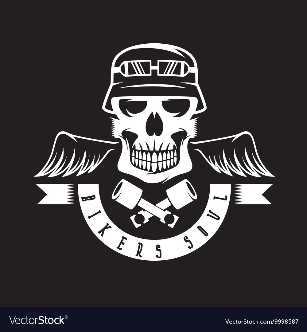 Biker theme label with pistons wings and skulls