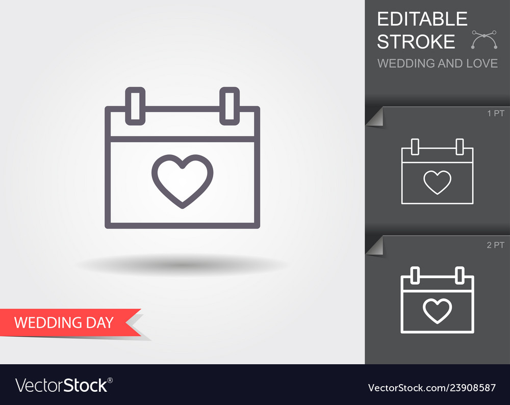 Calendar with heart icon line icon with editable