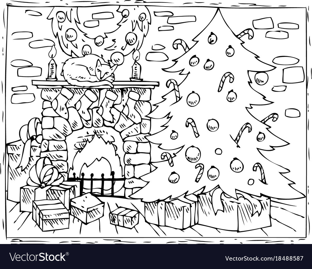 - Coloring Book Christmas Tree Fireplace And Gifts Vector Image