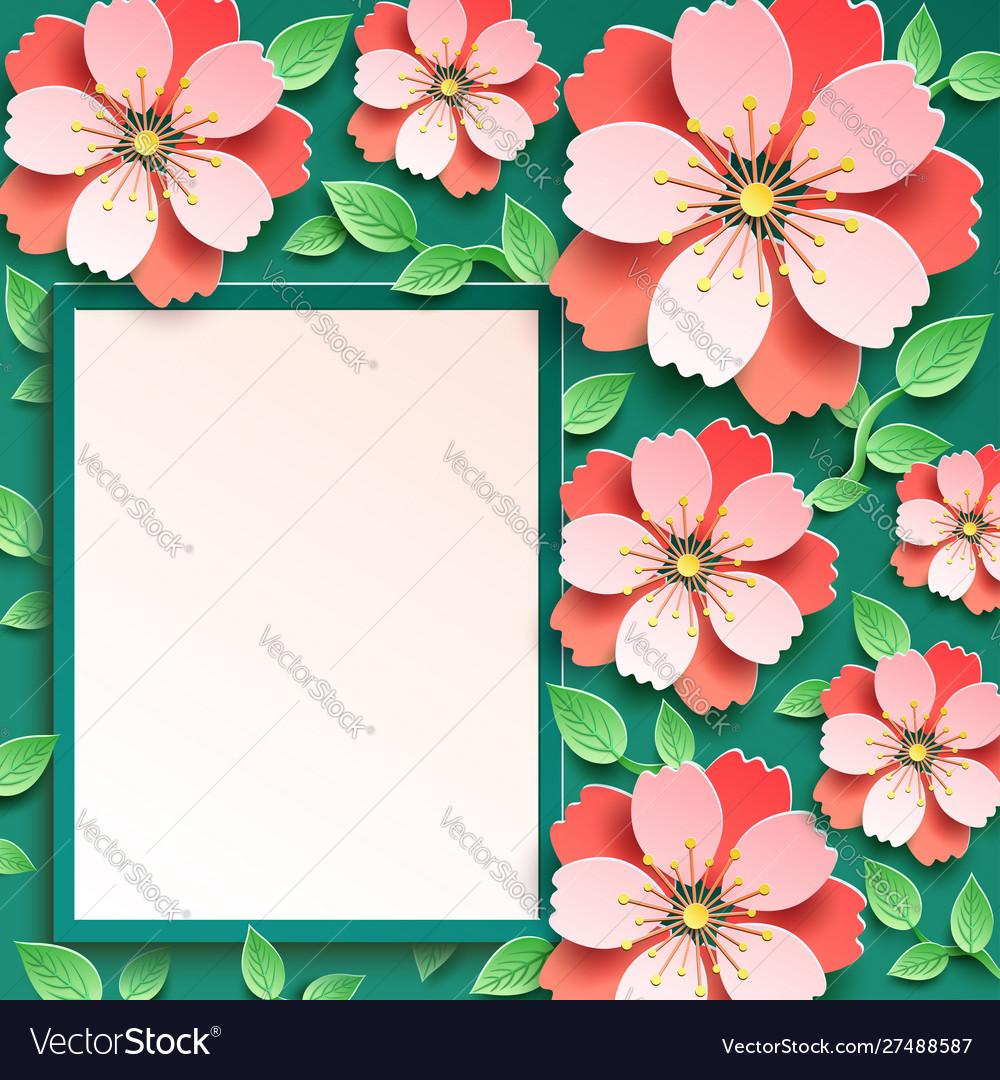 Festive background with 3d sakura blossom