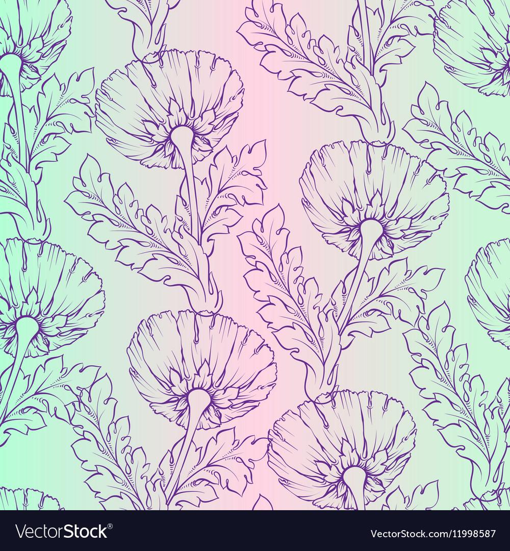 Garden flowers Seamless hand-painted soft gradient