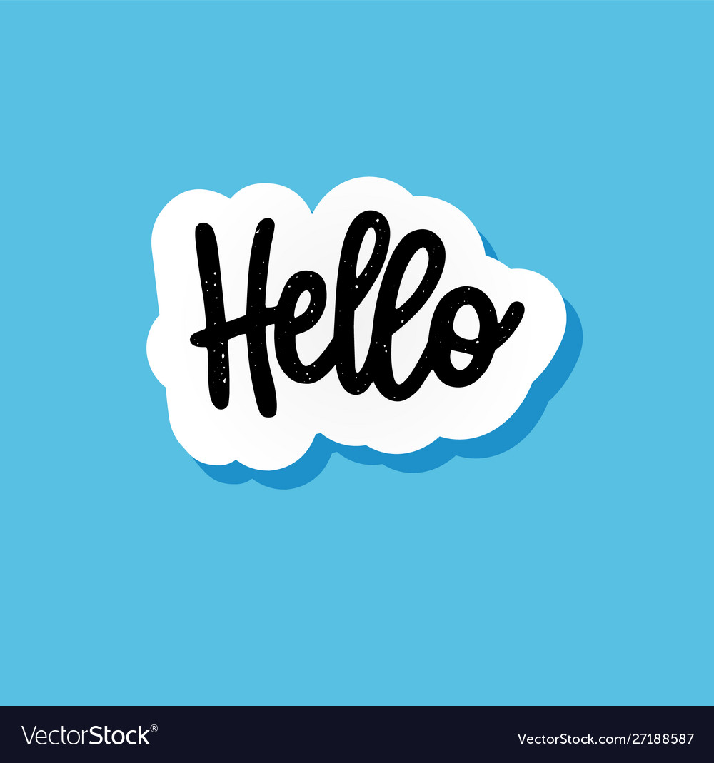 Hand-drawn hello paper speech bubble with a