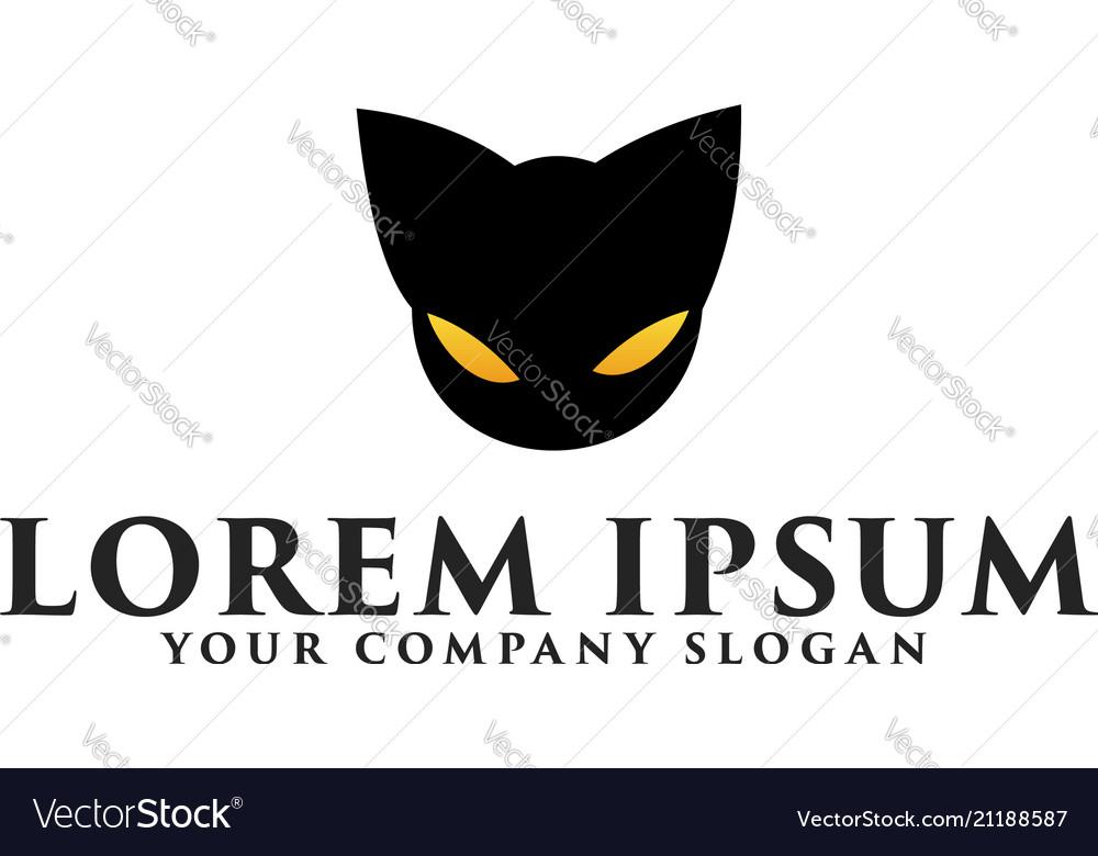 Head Black Cat Logo Design Concept Template Vector Image
