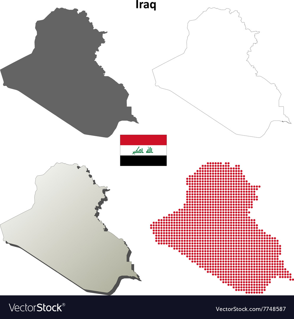 Iraq outline map set