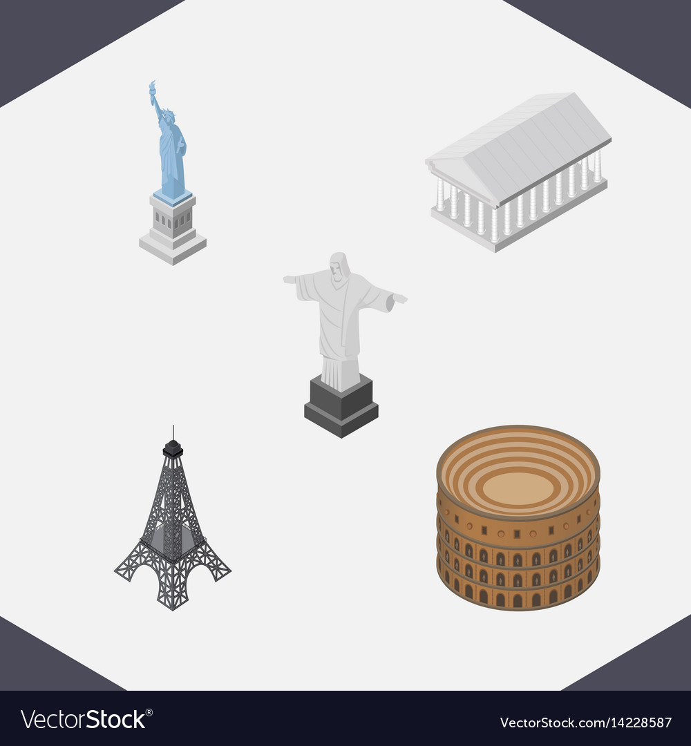 Isometric architecture set of paris new york rio vector image