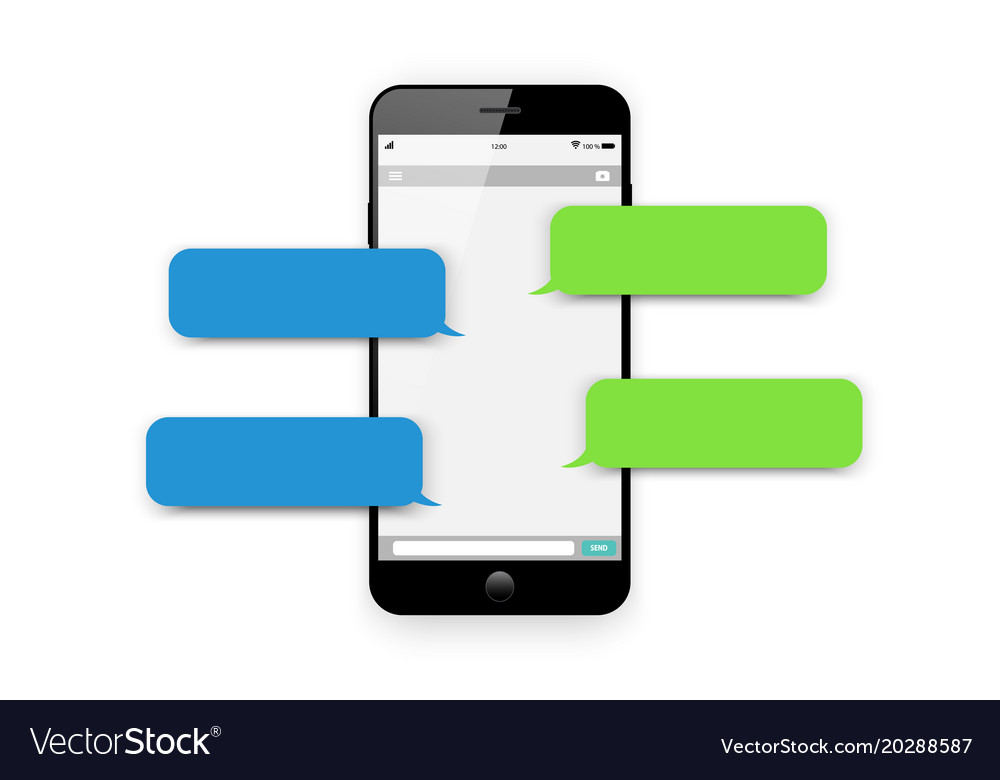 Mobile phone chat message dialog bubbles vector image