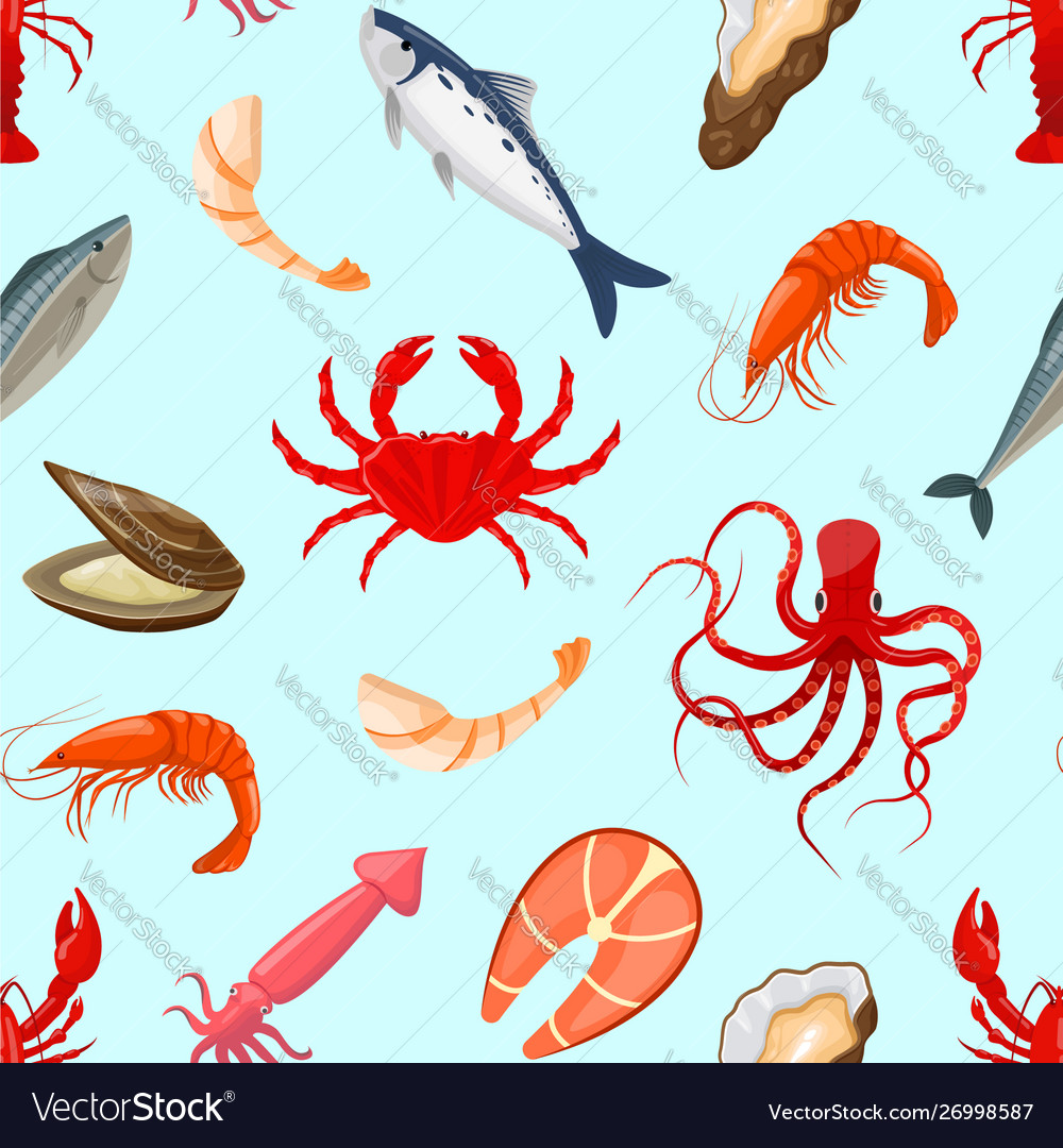 Pattern with seafood