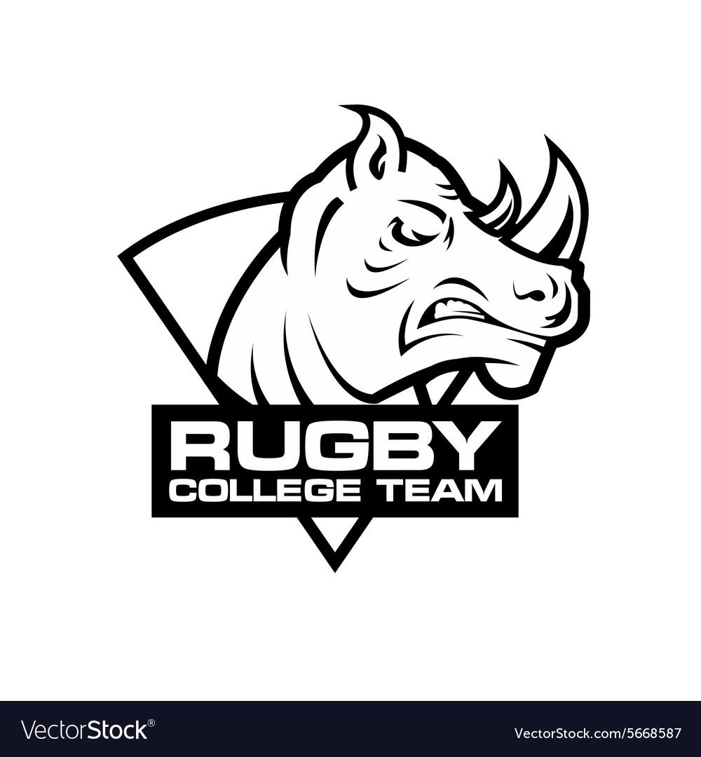 Rhino head sport logo Rugby badge template vector image