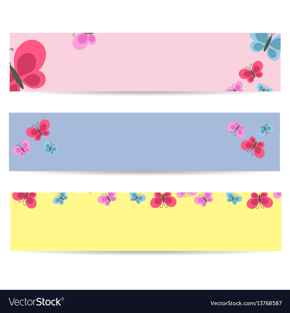 Set of posters with cartoon colorful butterflies