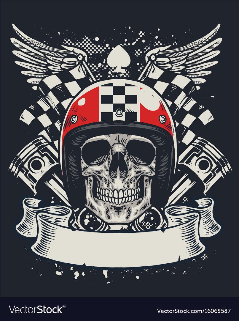 Skull of biker in t-shirt style design