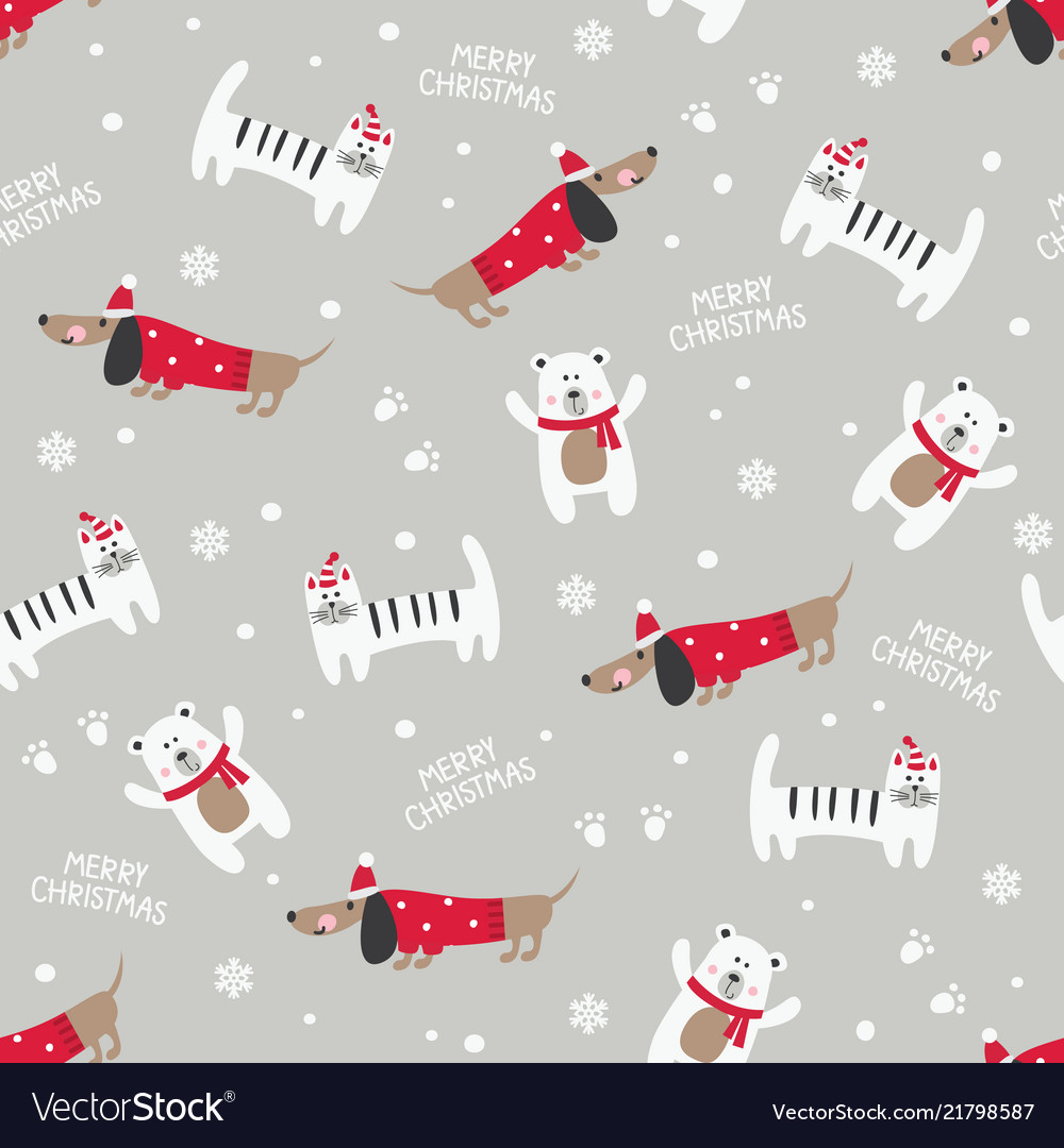 Winter seamless pattern with cute cats dogs and
