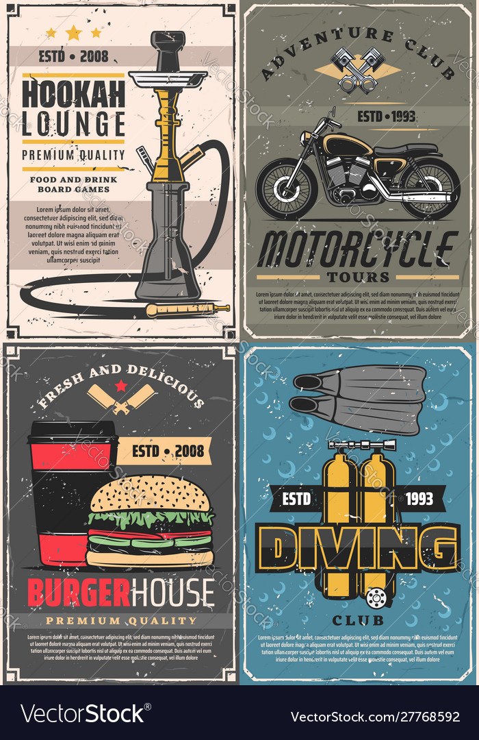 Diving motorcycle and hookah burger house