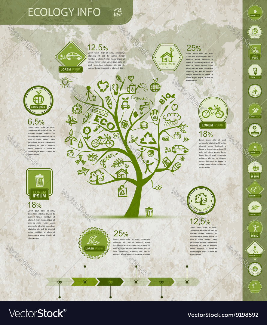 Ecology infographics with green tree sketch for