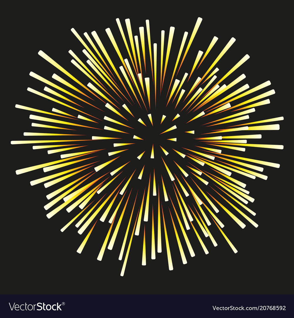 Fireworks yellow on a black background