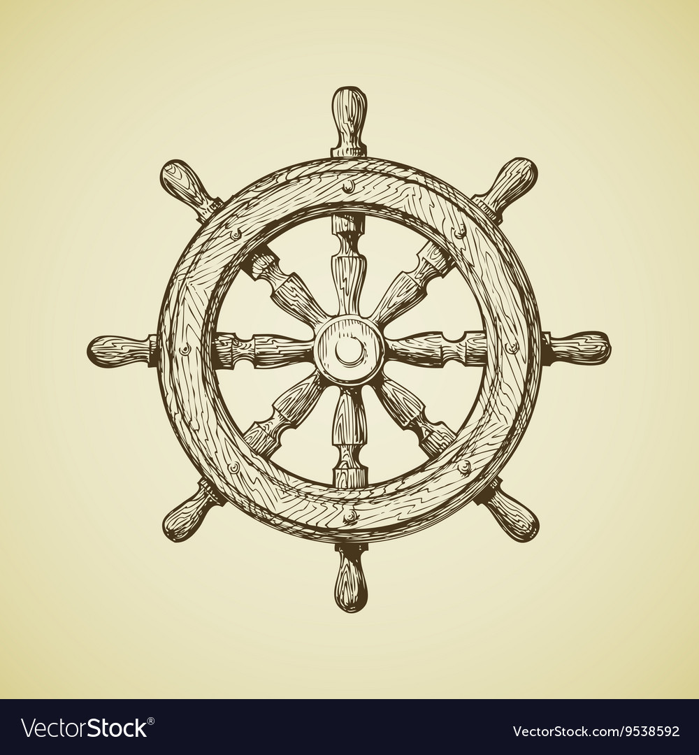 Hand-drawn vintage ships wheel in the old vector image