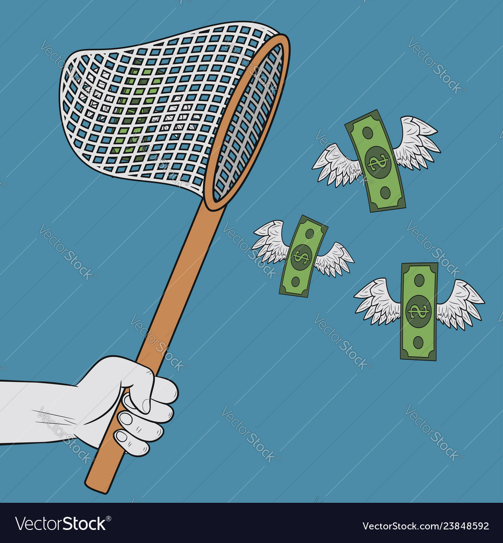 Hand holding scoop-net and catching flying winged