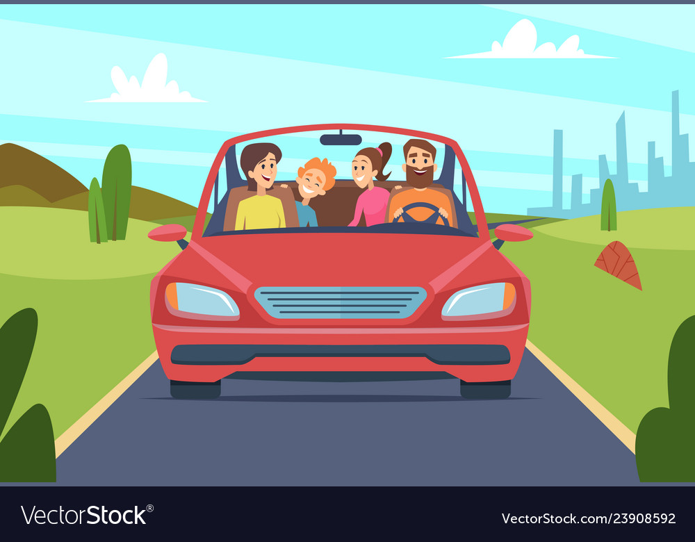 Happy family in car people father mother kids